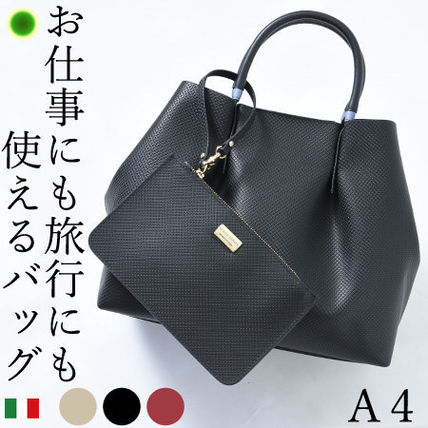 A4 3WAY Plain Leather Office Style Totes
