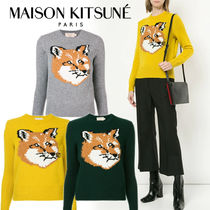 MAISON KITSUNE Crew Neck Short Casual Style Wool Long Sleeves