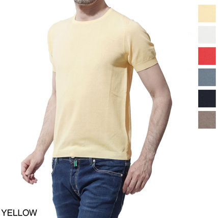 Crew Neck Cotton Short Sleeves Knits & Sweaters