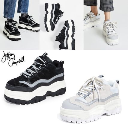 Platform Round Toe Lace-up Casual Style Suede Street Style