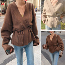 Casual Style V-Neck Long Sleeves Plain Medium Cardigans