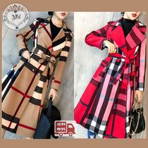Other Check Patterns Long Elegant Style Coats