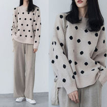 Dots Casual Style Cashmere Long Sleeves Medium Cashmere