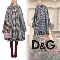 Dolce & Gabbana Zigzag Wool Fringes Ponchos & Capes