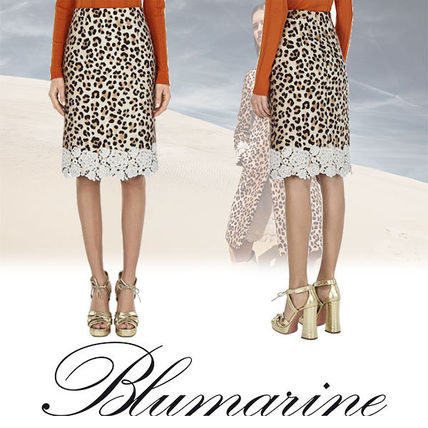 Leopard Patterns Casual Style Nylon Medium Midi Skirts