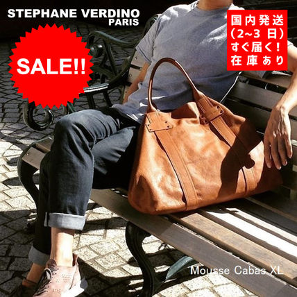 Unisex Street Style A4 Plain Leather Totes