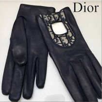 Christian Dior Plain Leather Leather & Faux Leather Gloves