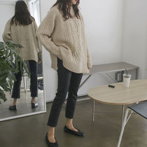 Crew Neck Cable Knit Casual Style Wool Long Sleeves Medium