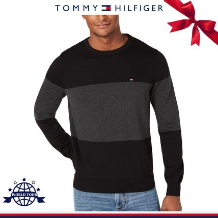 Tommy Hilfiger Knits & Sweaters Crew Neck Bi-color Long Sleeves Cotton Knits & Sweaters