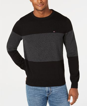Tommy Hilfiger Knits & Sweaters Crew Neck Bi-color Long Sleeves Cotton Knits & Sweaters 2