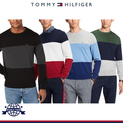 Tommy Hilfiger Knits & Sweaters Crew Neck Bi-color Long Sleeves Cotton Knits & Sweaters 6