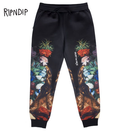 Flower Patterns Unisex Street Style Pants