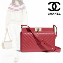 CHANEL Plain Leather Elegant Style Clutches