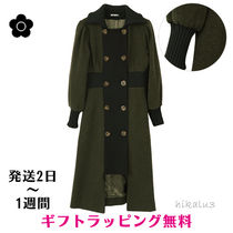 MARY QUANT Stand Collar Coats Casual Style Wool Plain Long Khaki Coats