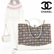 CHANEL A4 Plain Leather Elegant Style Totes