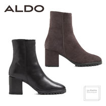 ALDO Round Toe Plain Leather Oversized Elegant Style Chunky Heels