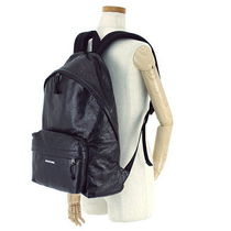 BALENCIAGA Unisex Plain Leather Backpacks