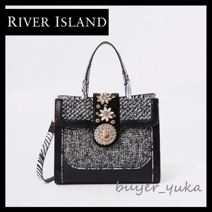 Faux Fur 2WAY With Jewels Tribal Elegant Style Shoulder Bags