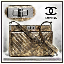 CHANEL 2WAY Plain Leather Elegant Style Clutches