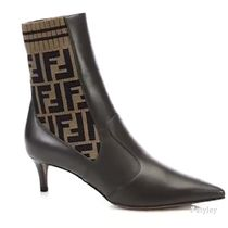FENDI Blended Fabrics Leather Ankle & Booties Boots