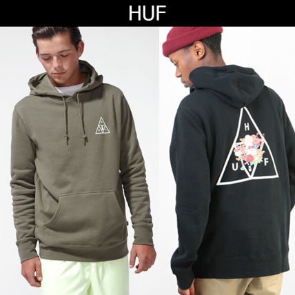 HUF Hoodies Pullovers Flower Patterns Street Style Long Sleeves Cotton
