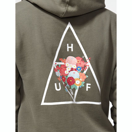 HUF Hoodies Pullovers Flower Patterns Street Style Long Sleeves Cotton 6