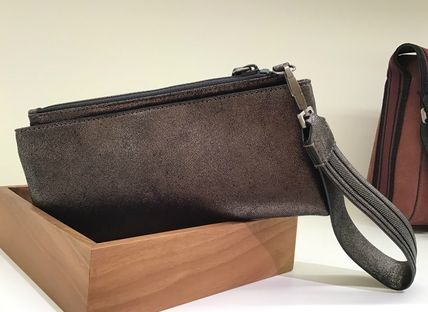 Calfskin Blended Fabrics Bag in Bag 2WAY Plain With Jewels
