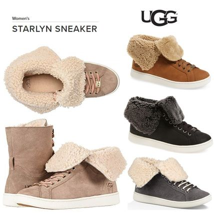 6ee9f53ff9d0 ... UGG Australia Low-Top Round Toe Rubber Sole Lace-up Sheepskin Blended  Fabrics ...