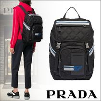 PRADA V135 Unisex Nylon Backpacks