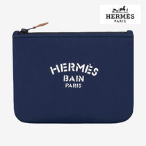 HERMES Unisex Canvas Blended Fabrics Plain Pouches & Cosmetic Bags