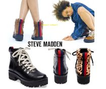 Steve Madden Round Toe Rubber Sole Casual Style Blended Fabrics