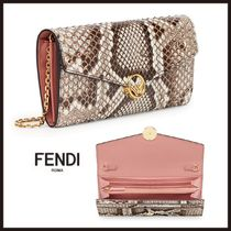 FENDI Chain Leather Python Long Wallets