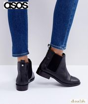 ASOS Casual Style Plain Leather Block Heels Ankle & Booties Boots