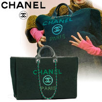 CHANEL DEAUVILLE Calfskin Blended Fabrics A4 Elegant Style Totes