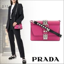 PRADA ELEKTRA Calfskin Studded 2WAY Shoulder Bags