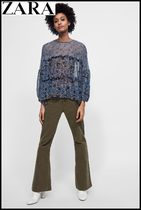 ZARA Crew Neck Flower Patterns Puffed Sleeves Elegant Style