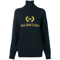 BALENCIAGA Cashmere Long Sleeves Plain Cashmere