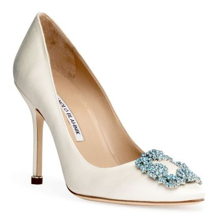 Blended Fabrics Plain Pin Heels With Jewels Elegant Style