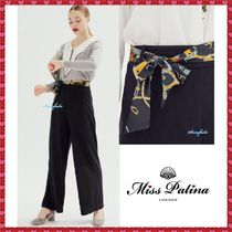 Miss Patina Casual Style Plain Long Wide Leg Pants