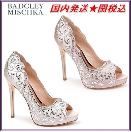 Open Toe Pin Heels With Jewels Elegant Style Shoes