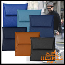 HERMES Bastia Plain Leather Coin Cases