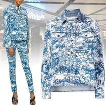 Off-White Tropical Patterns Denim Long Sleeves Medium Shirts & Blouses