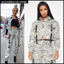 Short Camouflage Casual Style Blended Fabrics Street Style