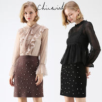Chicwish Short Plain With Jewels Elegant Style Skirts