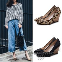 Leopard Patterns Plain Elegant Style Pumps & Mules