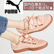 PUMA BASKET HEART Round Toe Rubber Sole Lace-up Plain Low-Top Sneakers
