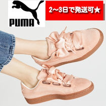 PUMA BASKET HEART Round Toe Rubber Sole Lace-up Casual Style Plain Logo