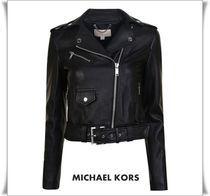 Michael Kors Short Unisex Street Style Plain Leather Biker Jackets
