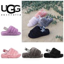 UGG Australia YEAH Open Toe Casual Style Sheepskin Plain Footbed Sandals