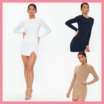 efeb461aee Missguided Crew Neck Short Casual Style Tight Long Sleeves Plain